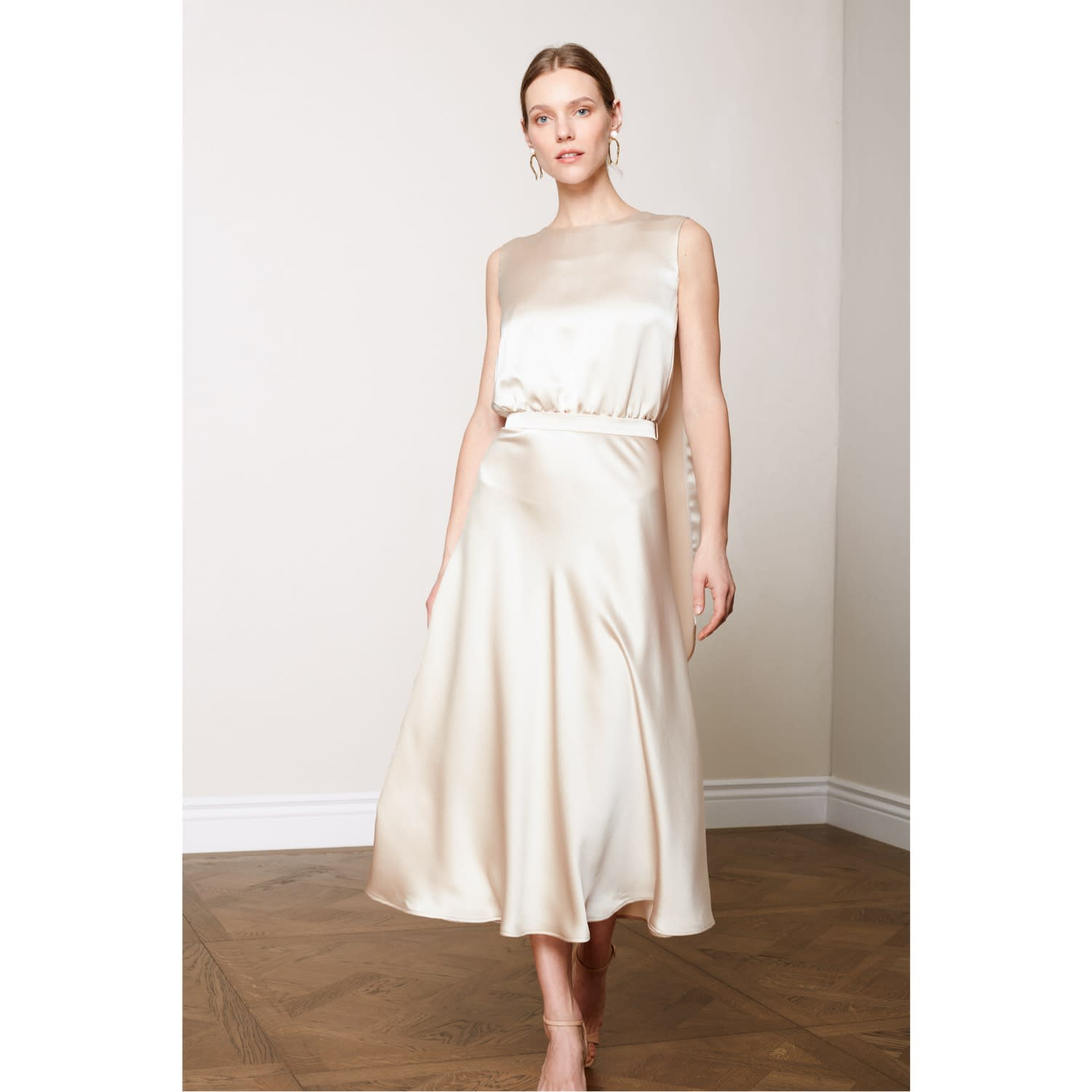 Rosa Champagne Midi Dress With Back