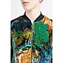 Backdrop Green Print Velvet Bomber Jacket image