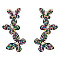 Colourful Butterfly Drop Earrings Gold image