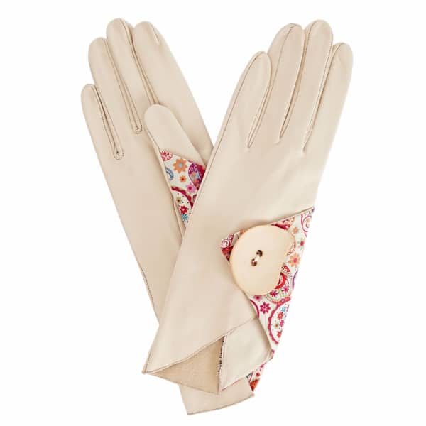 GIZELLE RENEE Padma Beige Leather Gloves With MD Liberty Tana Lawn