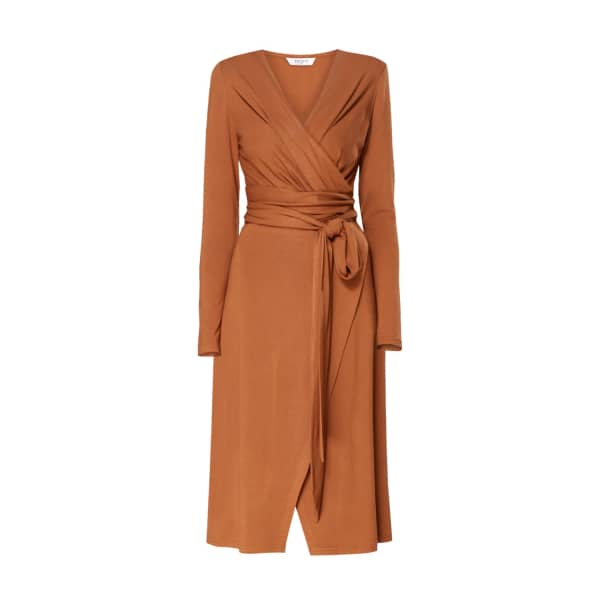 PAISIE Pleated Wrap Dress With Waist Tie In Brown