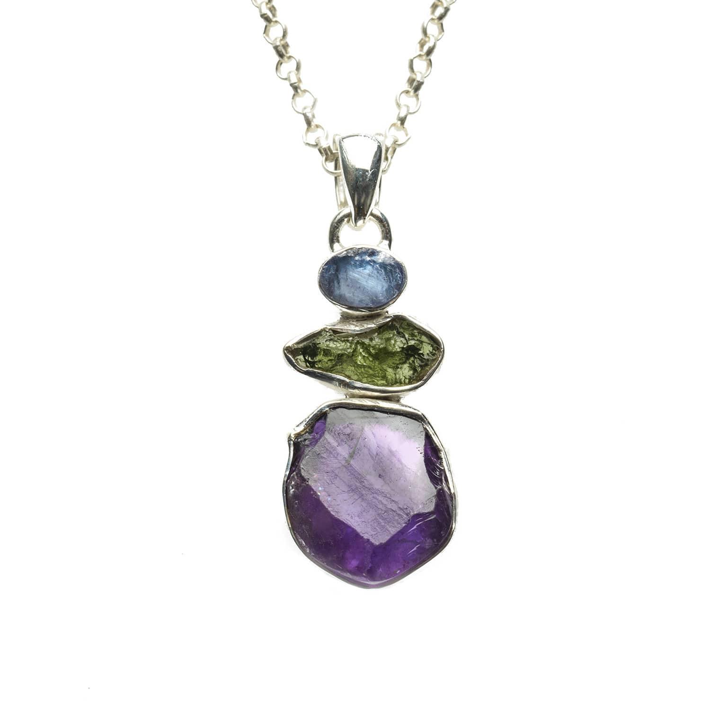 743e12f11a33f Amethyst Tanzanite & Moldavite Gemstone Pendant by Poppy Jewellery