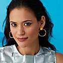 Gold Hexagon Front Hoop Earrings image