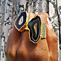 Black Mega Gemstone Gold Statement Ring image