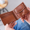 Classic Tan Leather Wallet With Coin Pocket image
