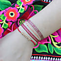 Set of Two Handwoven Bracelets in Poppy Red Pink & Gold image