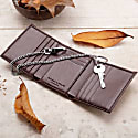Trifold Wallet For Belt Key Chain In Brown image