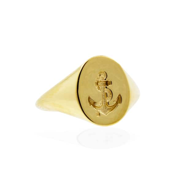 NO 13 Anchor Signet Ring - Gold Vermeil
