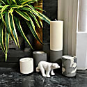 Concrete Tealight Trio Candle Holders With Soy Wax Tealights In Grey Snocam And White image