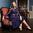 Navy Blue Silk Midi Lace Dress image