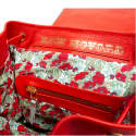 Bertie Backpack in Red Hide & Grey Nappa Trim with Liberty Print  image