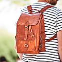 Vida Vintage Classic Leather Backpack - Large image