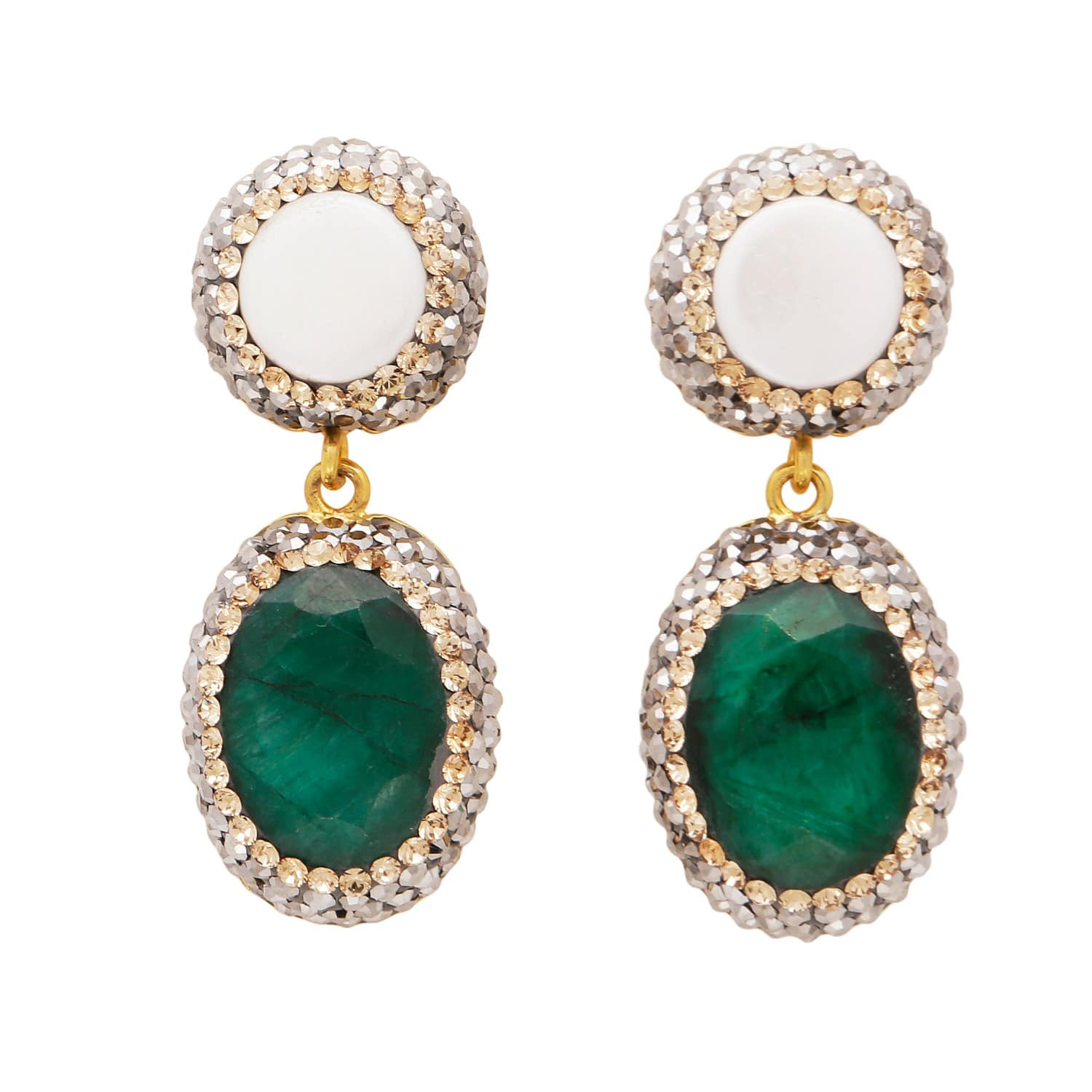 70e60b314f13b Mother Of Pearl and Emerald Corundum Drop Earrings by Carousel Jewels