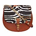 Mini Victoria Amaka Black, Orange & White African Print Full Grain Tan Leather Crossbody Saddle Bag With Gold Chain image