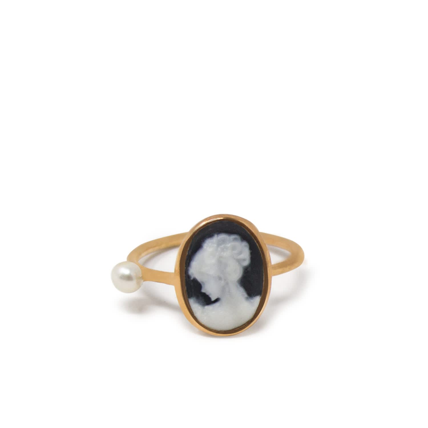 Rose Gold Plated Black Mini Cameo Pearl Ring P Uk Vintouch Italy Wolf Badger