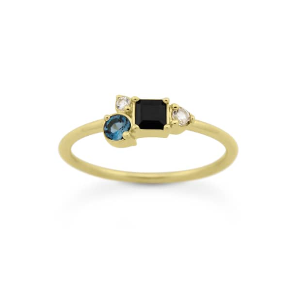 MONARC JEWELLERY Midnight Cluster Ring Gold Vermeil