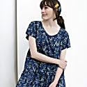 Blue Summer Dress With Flower Print & Ruffles image