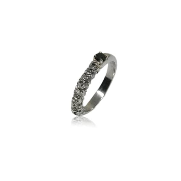KAROLINA BIK JEWELLERY Rock Ring In White Gold With Black Diamond