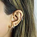 18K White Gold Emerald Diamond Piercing Stud image