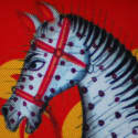Kalighat Horse Kalighat Classic Silk Scarf Collection Red & Green image