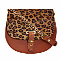 Mini Victoria Leopard Print Full Grain Tan Leather Crossbody Saddle Bag With Gold Chain image