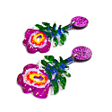 Fuchsia Abstract Resin & Acrylic Flower Earrings image