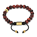 Red Tiger Eye Asymmetrical Bracelet / Gold image