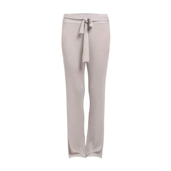 PAISIE Wide Legged Fine Knit Ribbed Trousers With Tie Belt