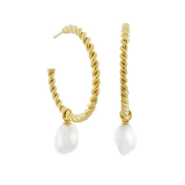 MONARC JEWELLERY Corda Baroque Pearl Hoop Earrings Gold Vermeil