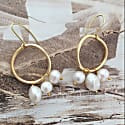Large Karma Solid Gold Circle Earrings With White Baroque & Freshwater Pearls image