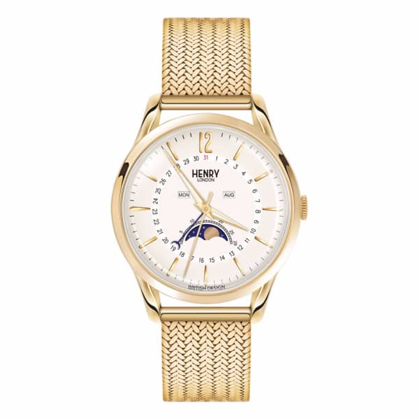 HENRY LONDON Unisex 39Mm Westminster Moonphase Stainless Steel Bracelet Watch