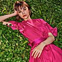Peony Silk Chiffon Maxi Dress With Silk Satin Lining image