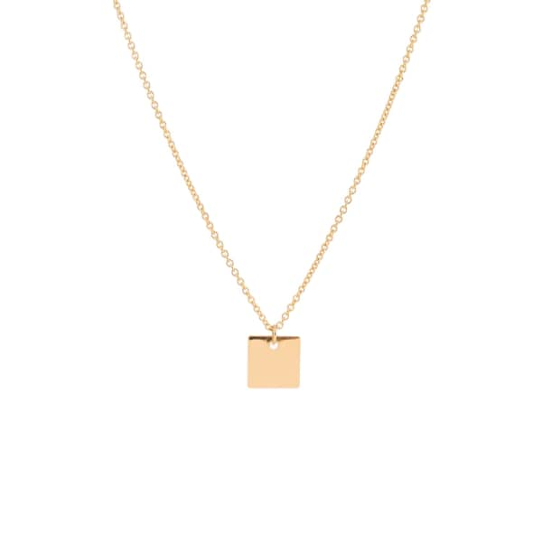 FEATHER+STONE Gold Square Pendant Necklace