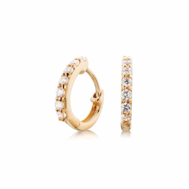 Small Gold Crystal Huggie Hoop Earrings | Lily & Roo | Wolf & Badger