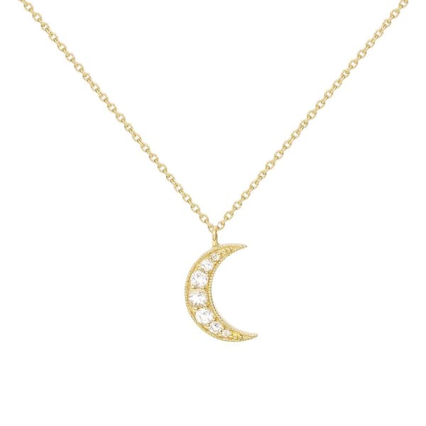 MONARC JEWELLERY Selene Necklace. 9ct Gold and White Topaz