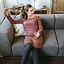 Boatneck Woollen Jumper In Audrey Hepburn Style Tweed-Heather image