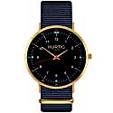 Moderno Vegan Nylon Montezuma Watch Gold, Black & Ocean Blue image