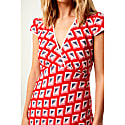Long Olivia Dress Red Star Diamond Print image