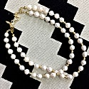 Irregular Shaped Pearls Double Strands Necklace image