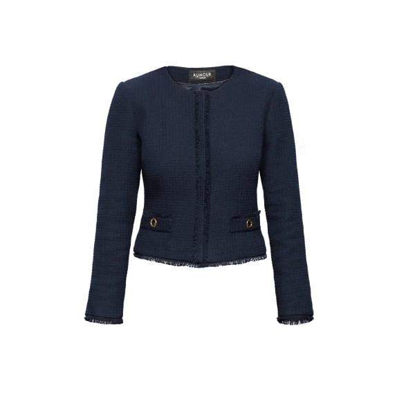 RUMOUR LONDON Gabrielle Navy Tweed Jacket With Fringing Detail in Blue