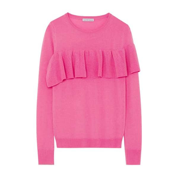 ILLE DE COCOS Merino Ruffle Sweater Flamingo & Gold