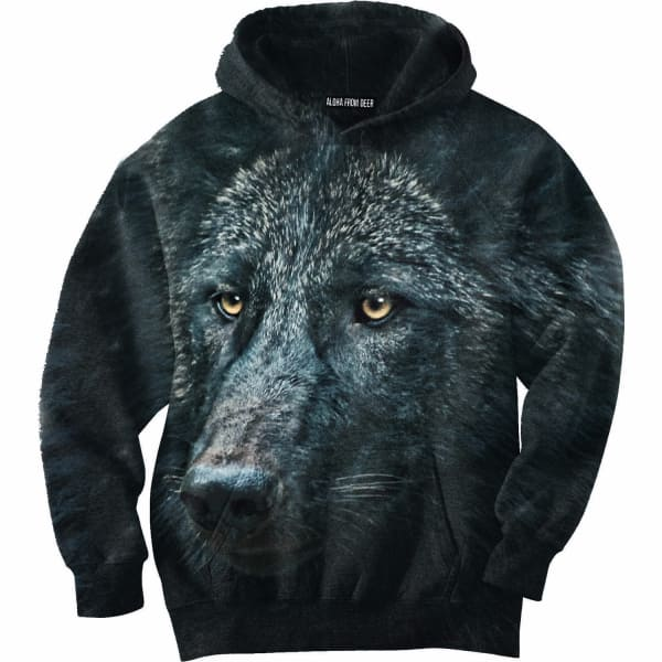 black wolf hoodie m aloha from deer wolf badger. Black Bedroom Furniture Sets. Home Design Ideas