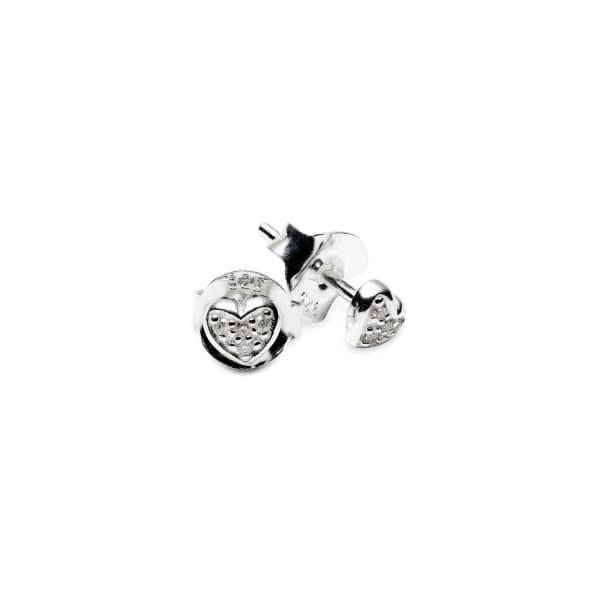 Mini Heart White Diamond Eearrings