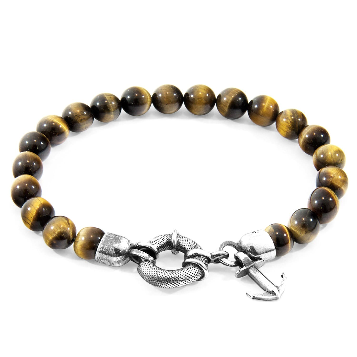 Anchor & Crew Brown Tigers Eye Port Silver And Stone Bracelet - 21cm l0pH1H