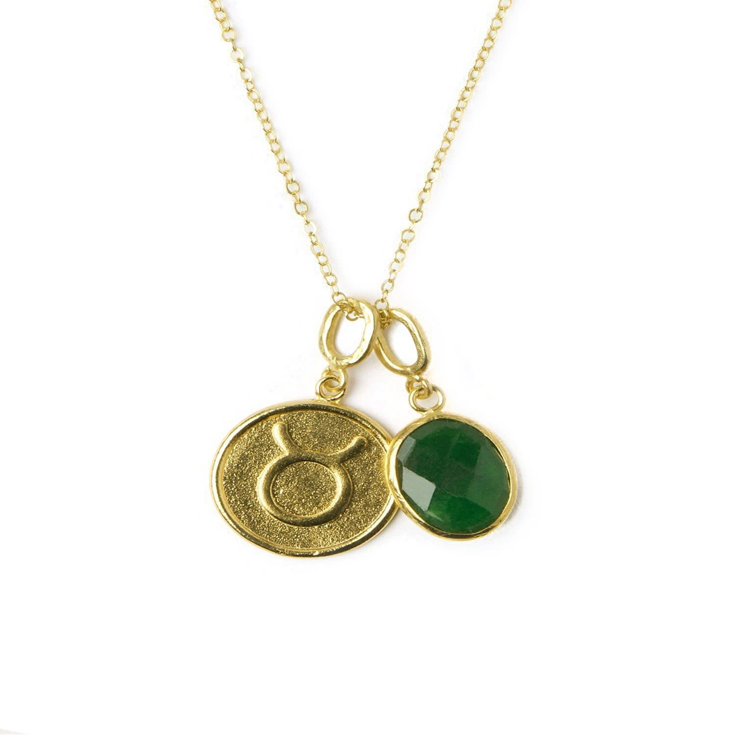 Taurus Zodiac Necklace With Emerald Charm Ottoman Hands Wolf Badger