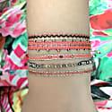 Black Diamond Bracelet In Bright Pink, Beige And Silver Tones image