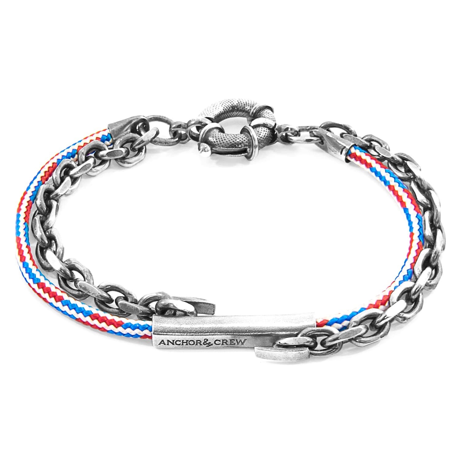 Project-Rwb Red White & Blue Belfast Silver & Rope Bracelet by ANCHOR & CREW