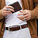 Mens Vegan Leather Belt In Chestnut Brown image