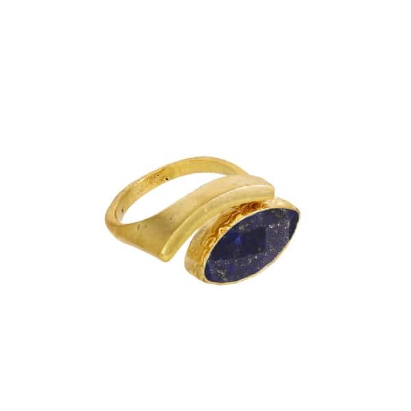 OTTOMAN HANDS Lapis Evil Eye Adjustable Ring