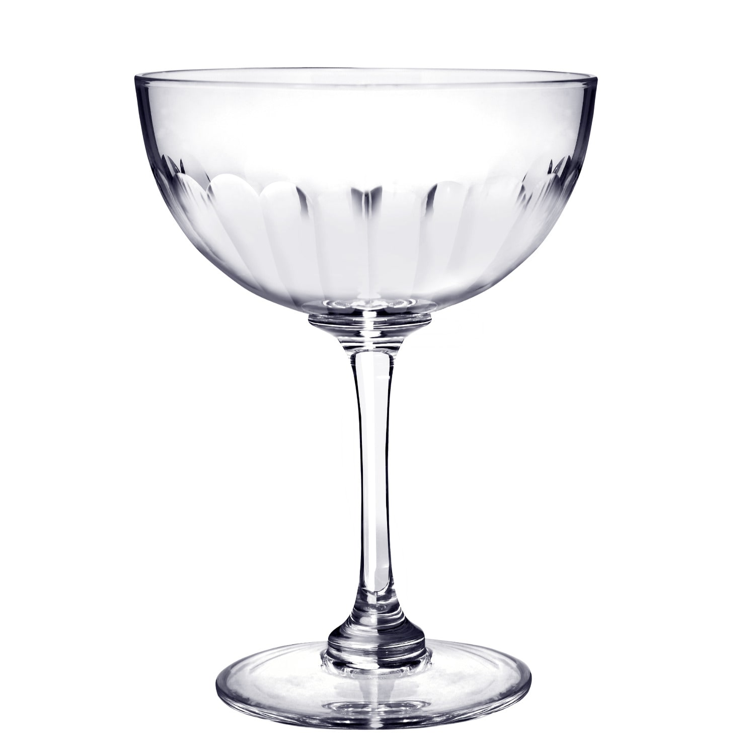 The Vintage List - Six Hand-Engraved Crystal Champagne Saucers With Lens Design